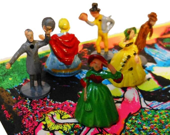 6pcs TINY VICTORIAN DOLLS 1970s Vintage Painted Figures