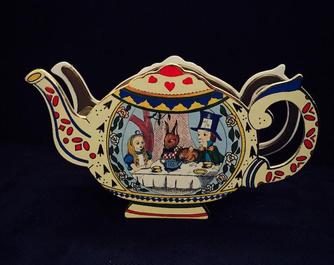 VINTAGE TEAPOT BOX 14pc Alice in Wonderland Miniature Tea Set