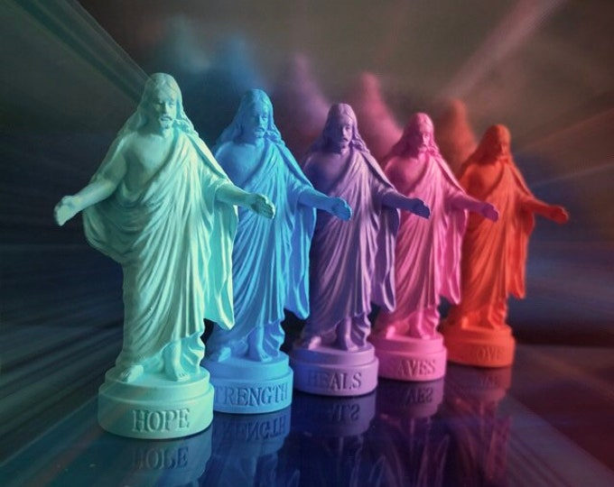 1pc MINIATURE PLASTIC JESUS Pocket Statue Dayglow Bright Rainbow Color Devotional Saint Christ Statuette Altar Tool Religious Supply