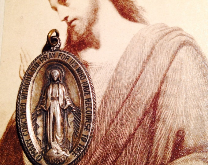 STERLING MARY MEDALLION Vintage Religious Large