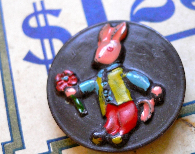 VINTAGE BUNNY BUTTON 1950s Chocolate Hand Painted Italy