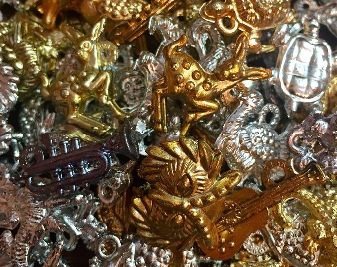 15pcs VINTAGE PLASTIC CHARMS Metallic Finishes Super Rare Mix