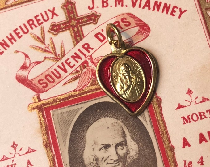 1pc JESUS HEART CHARM Vintage Religious Tiny Medallion Sacred Heart