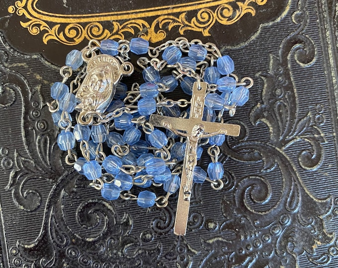 VINTAGE FACETED ROSARY Blue Beads Plastic Catholic Devotional Complete 18""