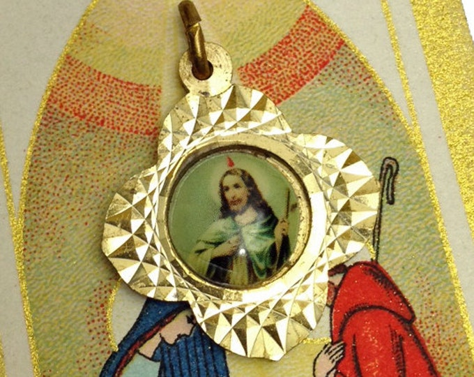 ST JUDE MEDALLION Vintage Religious Baptism of Fire