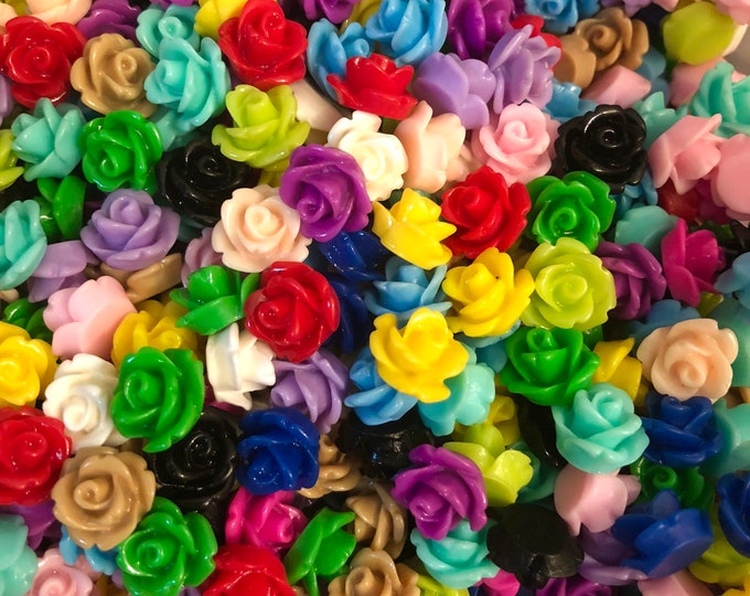 25pcs RESIN ROSE CABOCHONS Vibrant Shiny Flowers 10mm