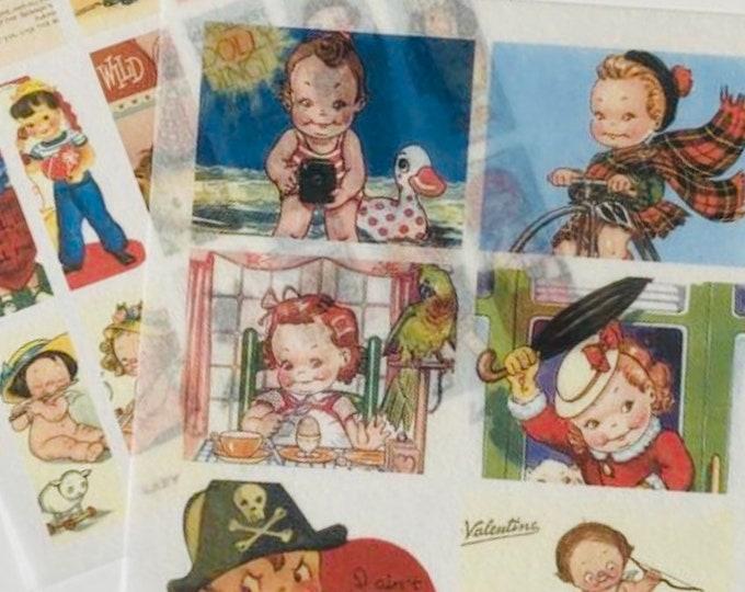 24pcs VINTAGE VELLUM STICKERS Retro Style Old Greeting Cards Paper Dolls Children Book Illustrations Ephemera Gift Wrap Washi Stickers Lot I