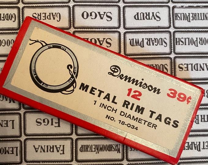 1bx VINTAGE DENNISON TAGS Partial Box Old Sliding Container Metal Rim Tags