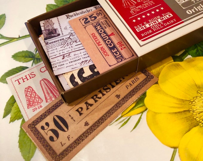 60pcs VINTAGE EPHEMERA PACK Matchbox Stickers Antique Labels Vintage Gummed Labels Vintage Tickets Coupons Vintage Stickers Lot