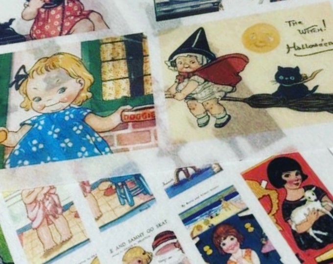 24pcs VINTAGE WASHI STICKERS Retro Style Paper Dolls Children Book Illustrations Old Greeting Cards Ephemera Gift Wrap Vellum Stickers Lot H