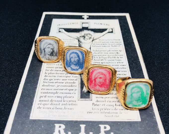 1pc RELIGIOUS FLICKER RING Vintage Vari Vue Jesus & Mary Choose Your Color