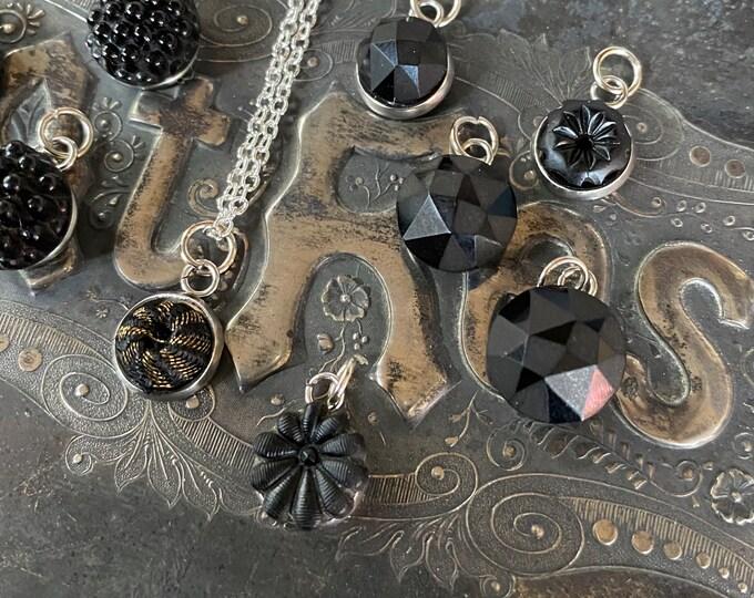 1pc VICTORIAN MOURNING CHARM 1880s Tiny Genuine Antique French Jet Glass Stone Bezel Mounted Keepsake Miniature Memoriam