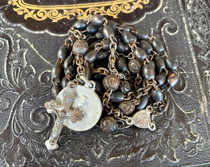 """ANTIQUE WOODEN ROSARY Vintage Wooden Beads Some Carved Tiny Crucifix Scapular Medal Complete 20"""""""