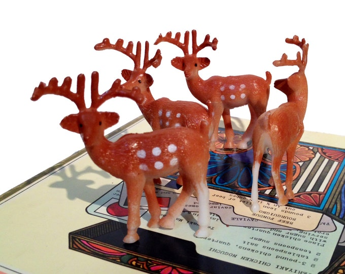 6pcs LITTLE PLASTIC DEER Kitschy Bucks