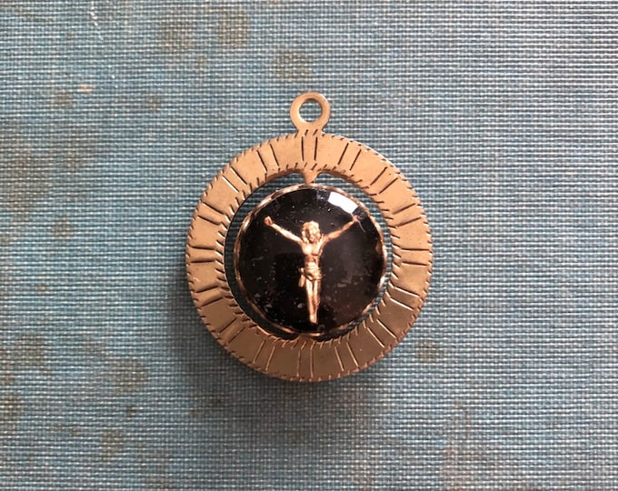VINTAGE RELIGIOUS SPINNER Scapular Medallion Jesus Virgin Mary Saint Medal Catholic Jewelry Glass Intaglio Spinning Double Sided Pendant