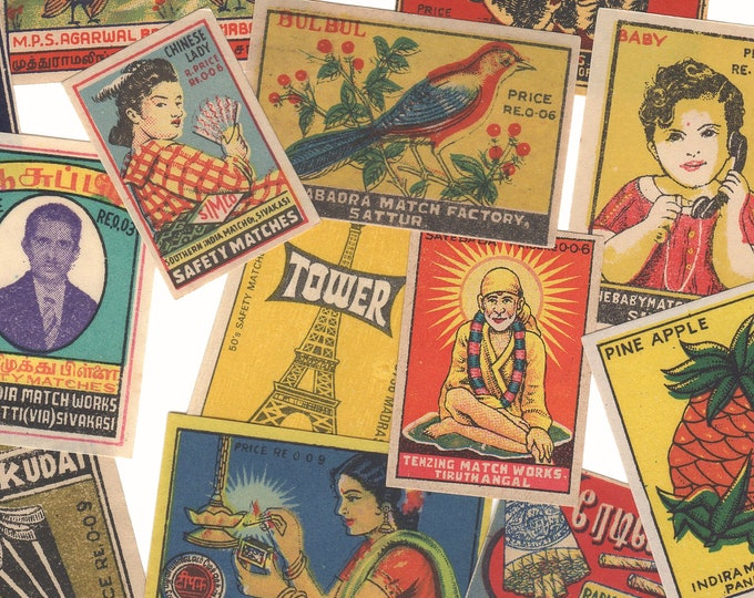 25pcs INDIAN MATCHBOX STICKERS Vintage Retro Images Set E