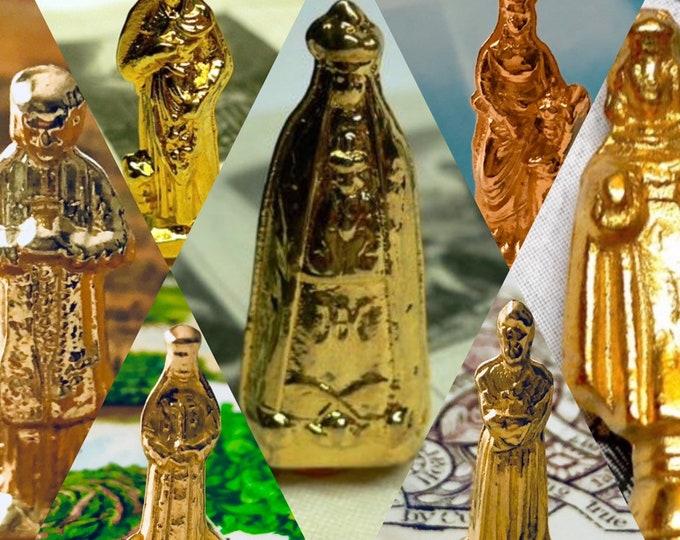 1pc VINTAGE POCKET STATUE Plated Metal Tiny Vintage Pocket Statue Miniature Shrine Our Lady & Various Saints Religious Statuettes France