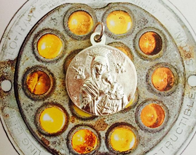 PERPETUAL HELP MEDAL Saint Joseph Vintage Religious Silver Plate Signed Karo & Adolphe Penin