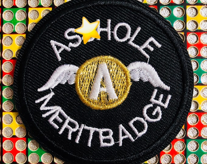 1pc MERIT BADGE PATCH Embroidered Patch A-hole Applique Iron On Fabric Embellishment Sewing Notion Crafting Supply U.S. Seller