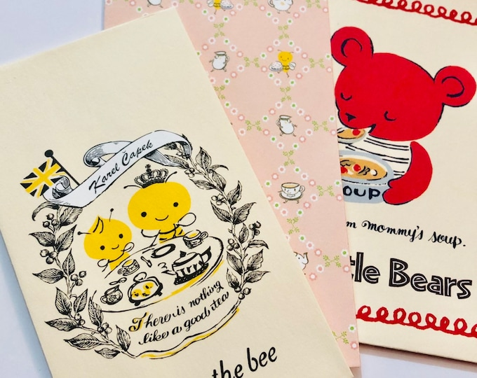 6pcs TINY SWEET ENVELOPES Retro Design Karol Čapek Tea Time Buzzy The Bee 3 Little Bears Gifting Supplies Stationery Lot
