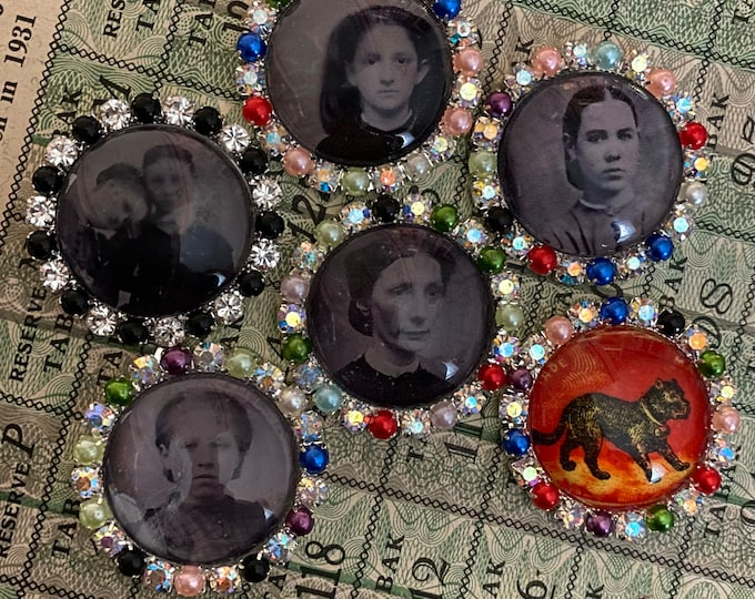 1pc TIN TYPE EMBELLISHMENT Vintage Style Hand Made Photo Cabochon Rhinestone + Pearl Setting Unique Cabs Jewelry Supplies