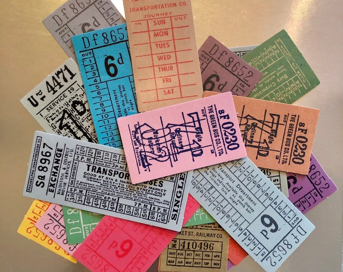 15pcs BUS TICKET STICKERS Vintage Design British Paper Ephemera Pack Scrapbooking Mail Art Labels Lot