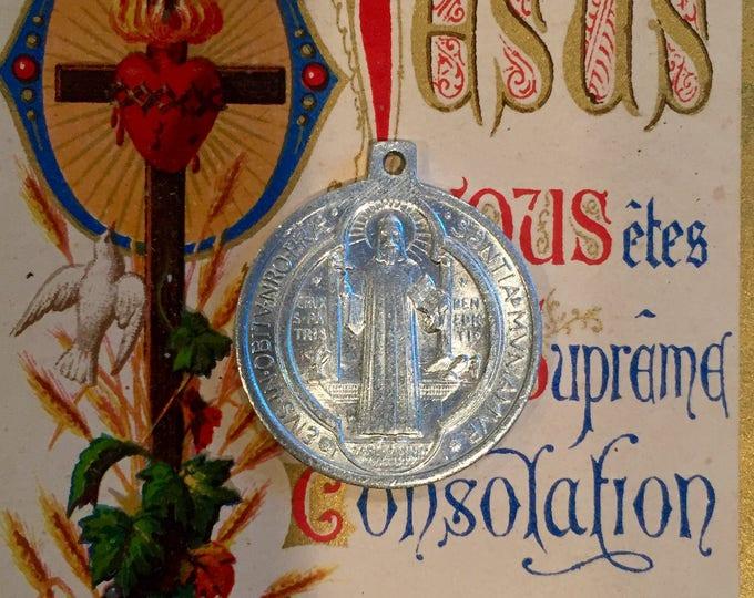 SAINT BENEDICT MEDAL Vintage Religious Exorcism Protection Against Evil