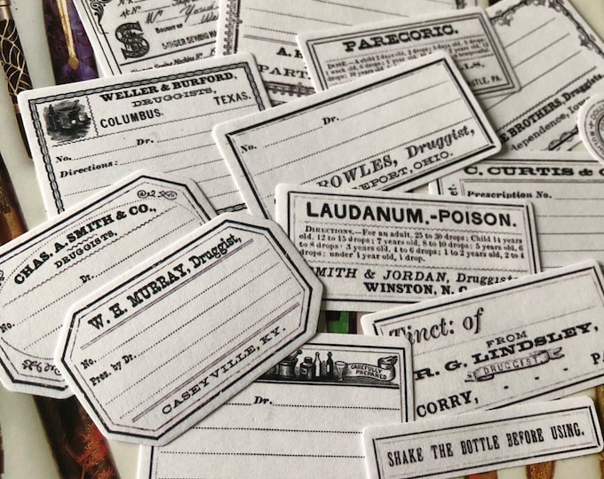 14pcs VINTAGE PHARMACY LABELS Antique Style Drug Store Stickers Druggist Apothecary Medicine Bottle Type Seals Lot