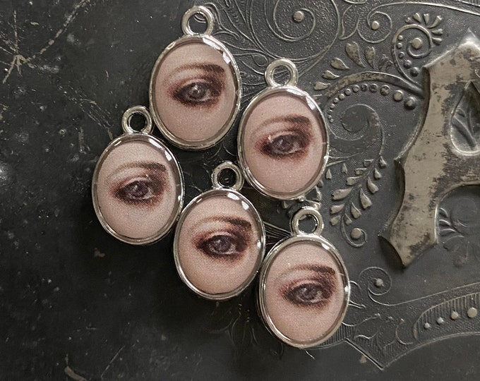 5pcs MOURNING EYE CHARMS Tiny Custom Made Vintage Faux Lover's Eye Georgian Images Memorial Gaze Miniature Pendant Medallions Lot B