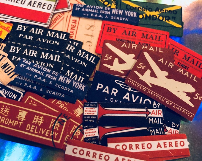 20+pcs AIR MAIL STICKERS Vintage Small Domestic + International Mailing Labels Letter Set Mail Art Paper Ephemera Seals Lot