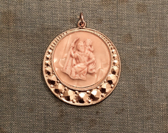 SAINT CHRISTOPHER MEDALLION Vintage Religious Medal Catholic Jewelry Pearly Large Pendant Germany