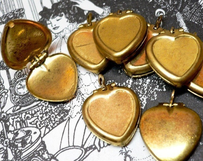 10pcs VINTAGE LOCKET HEARTS Aged Old Brass