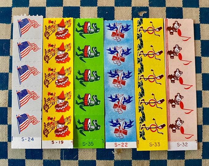 30pcs VINTAGE TINY STICKERS Vintage Musical Seals Miniature Gummed Labels Paper Ephemera Stamps Letter Writing Supplies Sticker Lot
