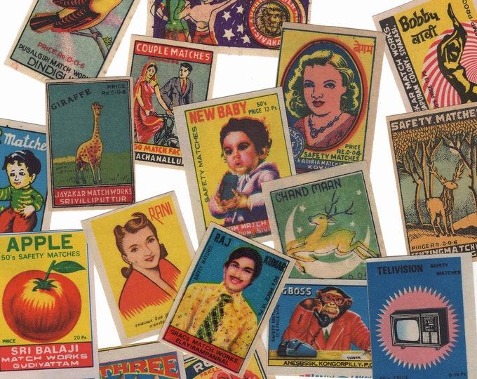 25pcs INDIAN MATCHBOX STICKERS Vintage Retro Images Set C