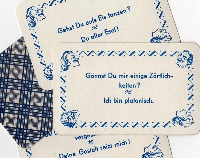 5pcs GERMAN LAUGHTER CARDS Vintage Old Game