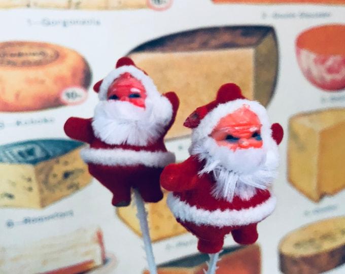 2pcs MINI FLOCKED SANTAS Vintage Christmas Decoration Gift Wrap Old Dime Store Stock Chenille Beard