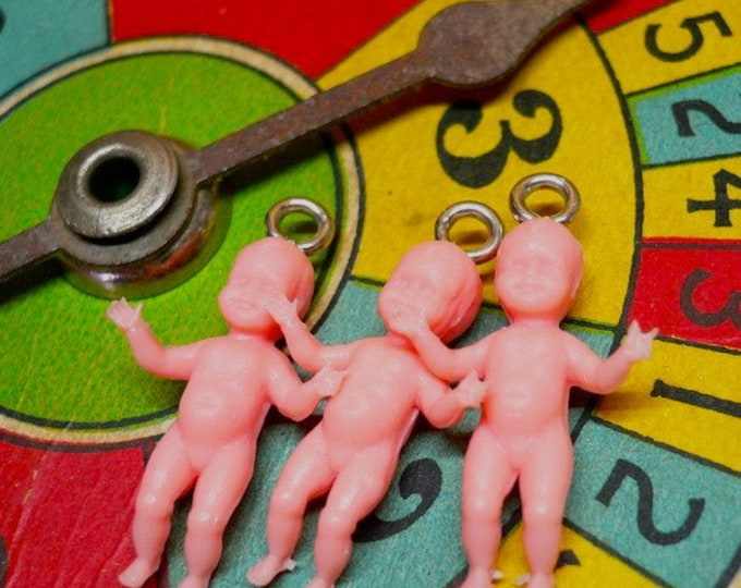 3pcs 60s Vintage TINIEST BABY CHARMS Penny Size German