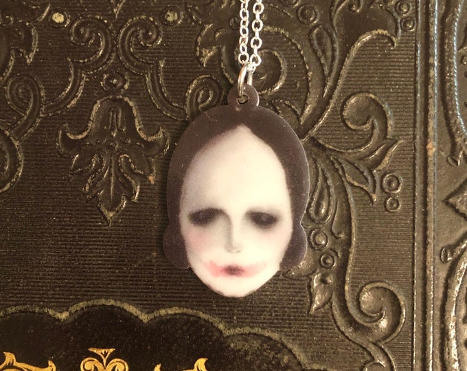 "HAUNTING DOLL NECKLACE Halloween Jewelry Gothic Couture Spooky Doll Face Miniature On 22"" Silver Chain"