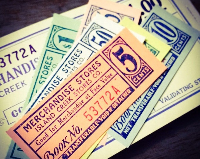 30pcs MINING TOWN TICKETS Antique Vintage Genuine Paper Ephemera West Virginia