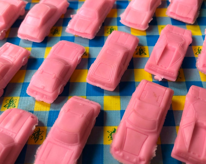 10pcs JAPANESE CAR ERASERS 1970s Vintage Miniature Cars School Supplies Party Favors Ferrari Nissan Mazda Toyota Daihatsu Lambo + More