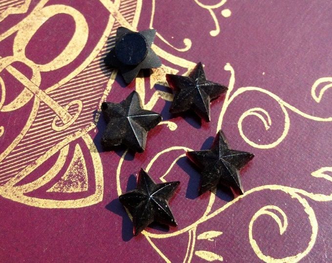5pcs Tiny ANTIQUE MOURNING STARS French Jet Glass Style D