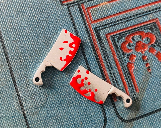 2pcs TINY CLEAVER CHARMS Miniature Macabre Spooky Halloween Pendants Bloody Knives Murderous Jewelry
