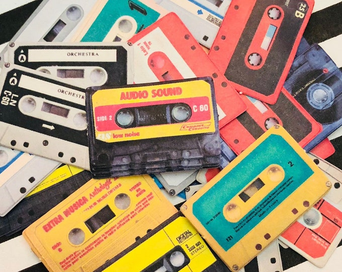 20+pcs RETRO CASSETTE STICKERS Tiny Colorful Music Throwback