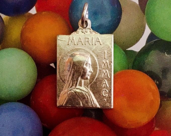 MARIA IMMACULATA MEDAL Vintage Religious Souvenir Silver Plate Lourdes France