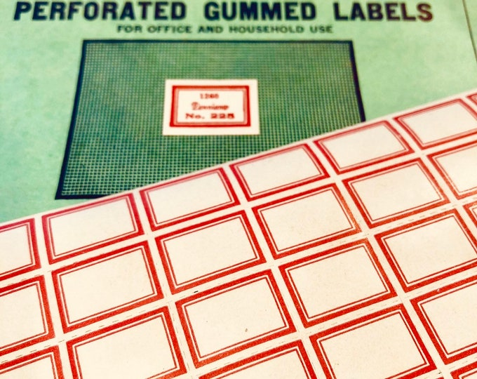 63pcs VINTAGE DENNISON LABELS Authentic Old Stock Gummed Seals Tiny Red Border Blank Perforated Sticker Sheet Bulk No. 225