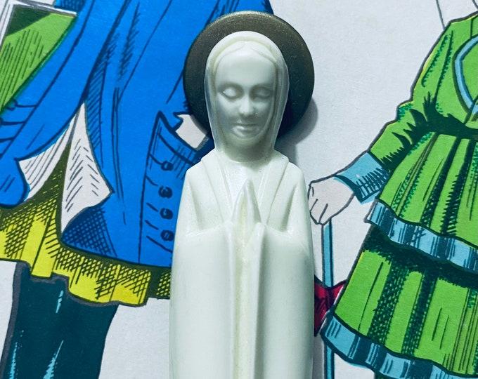 VINTAGE VIRGIN MARY Western German Statue Plastic Crescent Moon + Wooden Base Small Figurine