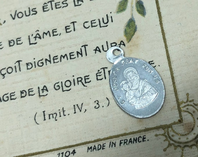 1pc TINY JOSEPH MEDAL Vintage Religious Smallest Saint Charm Guardian Angel Reverse