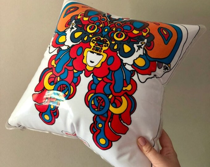 PETER MAX PILLOW Vintage Inflatable Pillow Vintage Peter Max Decor Vintage Psychadelic Pillow Vintage Vinyl Pillow Vintage Peter Max 16""