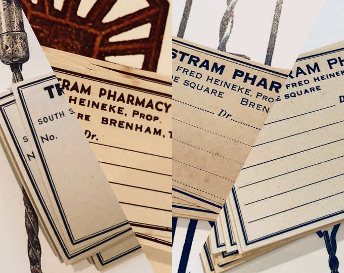 50pcs VINTAGE PHARMACY LABELS Texas American Drug Store Gummed Labels Paper Ephemera Bulk