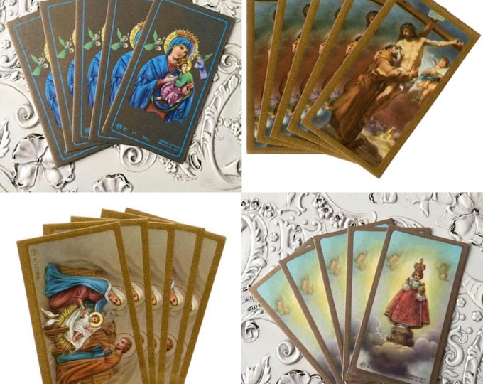 5pcs VINTAGE PRAYER CARDS Religious Paper Ephemera Our Lady of Perpetual Help St. Francis Infant of Prague Holy Family Italy Your Choice